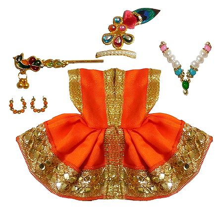 Saffron Dress and Accesories for 2 Inches Bal Gopal Idol