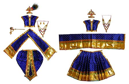 Set of 2 Blue Dresses and Accessories for 11 Inches Radha Krishna Idols