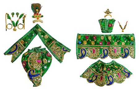 Set of 2 Green Dresses and Accessories for 5 Inches Radha Krishna Idols