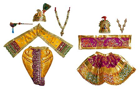 Set of 2 Dresses and Accessories for 7 Inches Radha Krishna Idols
