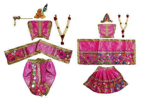 Set of 2 Pink Dresses and Accessories for 4.5 Inches Radha Krishna Idols