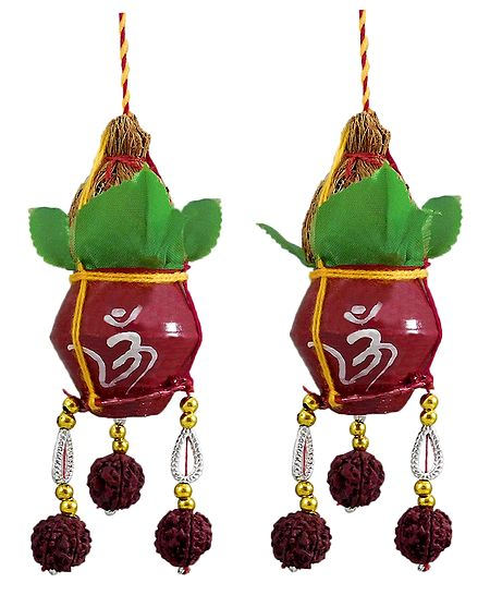 Pair of Hanging Metal Kalash with Coconut for Puja Decoration