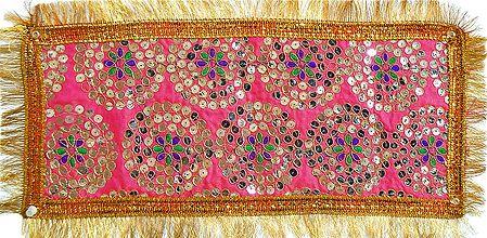 Embroidered and Sequin Work Pink Art Silk Chunni for Matarani