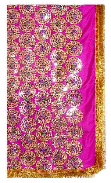 Magenta Silk Matarani Chunni with Sequin Work