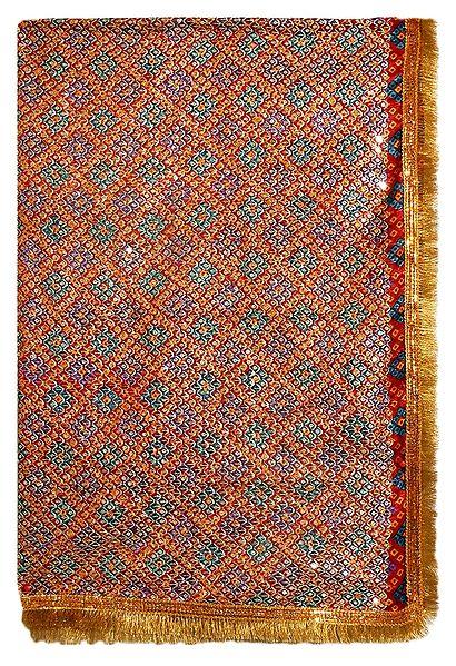 Tie and Dye Silk Matarani Chunni with Sequin Work