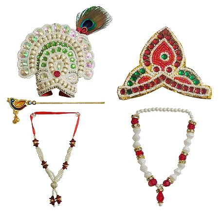 Set of 2 Crowns, Flute and Necklaces for 10 to 12 inches Radha Krishna