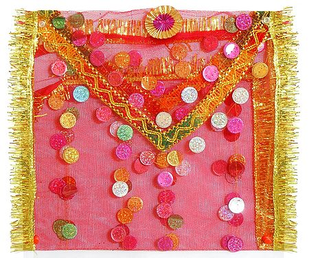 Red Net Chunni with Sequin for Matarani
