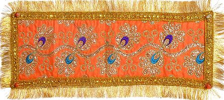 Saffron Art Silk Matarani Chunni with Sequin and Golden Zari Work