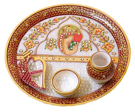 Marble Thali with Ganesha