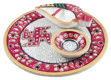 Marble Plate with Diya and Haldi Kumkum Container