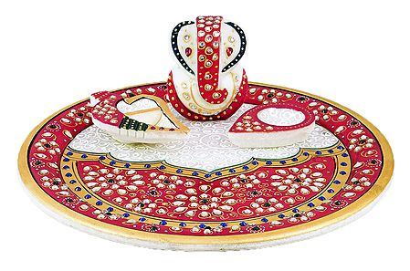 Marble Plate with Ganesha