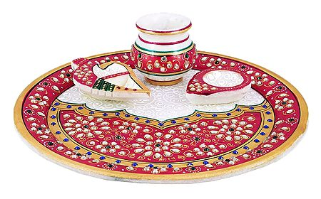 Marble Thali with Ritual Accessories