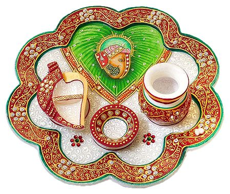 Marble Thali with Ganesha