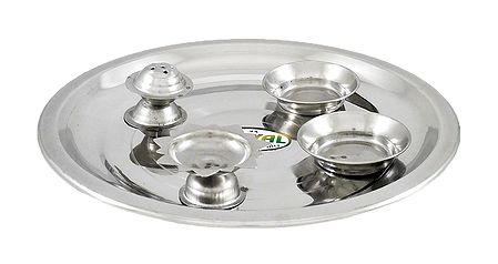 Stainless Steel Thali with Ritual Accessories