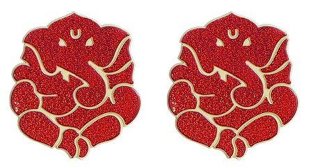 Set of 2 Acrylic Red Ganesha Sticker