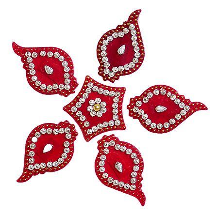 Red Acrylic Sticker Rangoli