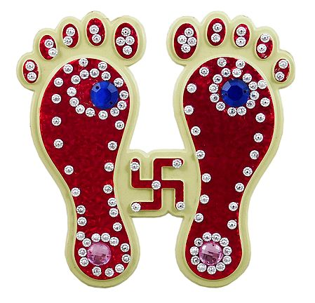 Red Acrylic Charan with Swastik