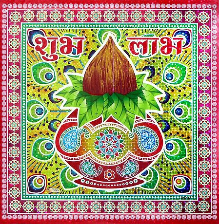 Kalash with Coconut Print on Glazed Paper Sticker Rangoli