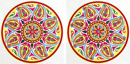 Set of 2 Colorful Print on Transparent Sheet Sticker