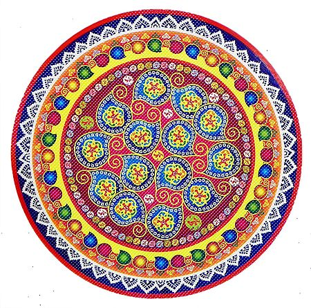 Rangoli Paper Sticker with Colorful Print