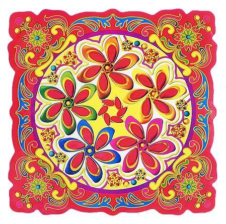 Flower Print on Glazed Paper Sticker