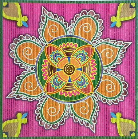 Colorful Rangoli Print on Glazed Paper Sticker