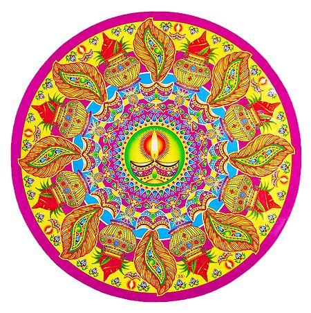Diya and Kalash Design on Paper Sticker