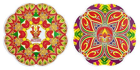 Pair of Rangoli Stickers with Diya Print