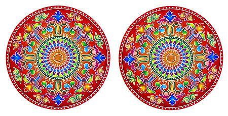 Set of 2 Alpana Design Stickers