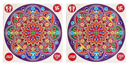 Set of 2 Multicolor Round Sticker