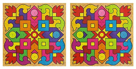 Set of 2 Square Stickers with Geometrical Design