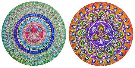 Set of 2 Glazed Paper Sticker Rangoli Print