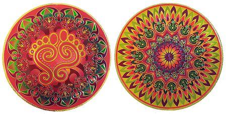 Set of 2 Glazed Paper Sticker Rangoli