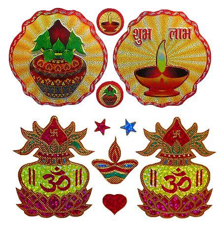 2 Pairs of Kalash and Diya Sticker