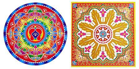 Set of 2 Paper Sticker Rangoli