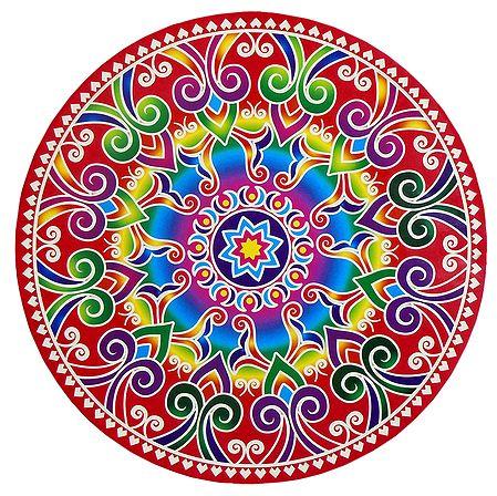 Multicolor Alpana Design on Round Sticker