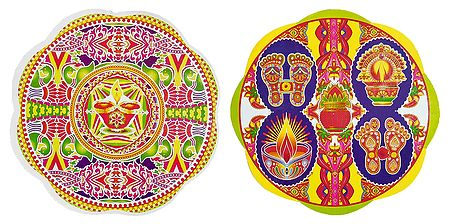 Set of 2 Multicolor Rangoli Stickers