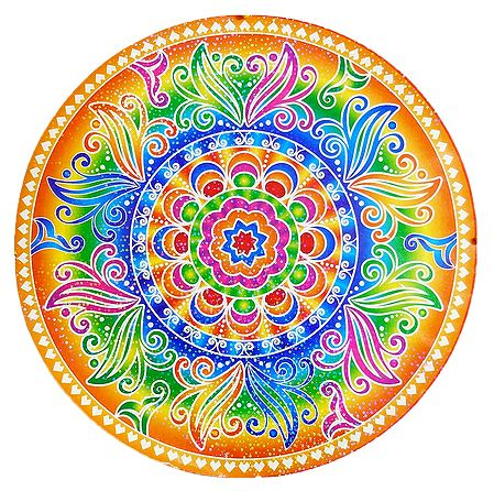Diya Print on Sticker Rangoli