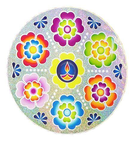 Colorful Sticker Rangoli Flower Print with Diya on Glazed Paper Sticker