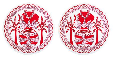 Pair of Paper Sticker Rangoli with Kalash Print