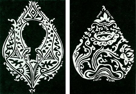 Set of Two Hand Painted White Rangoli Design on Handmade Paper