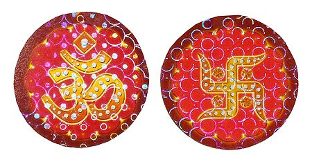 Om and Swastik Paper Sticker