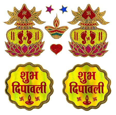 2 Pairs of Shubh Deepavali and Charan on Kalash Sticker