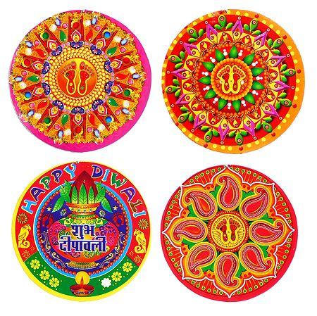 Set of 4 Colorful Rangoli Print on Paper Sticker