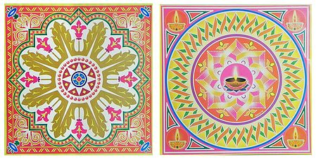 Set of 2 Rangoli Print on Square Paper Sticker