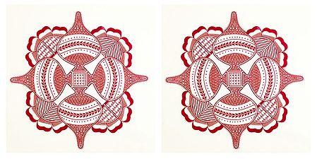 Pair of Printed Rangoli Paper Sticker