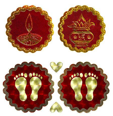 Kalash, Diya and Charan - Auspicious Hindu Symbols