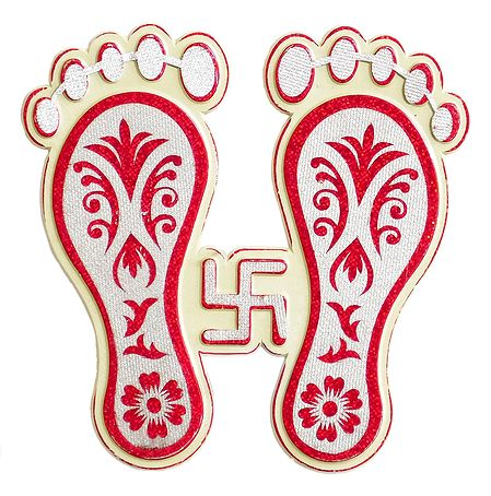 Acrylic Charan with Swastik (Auspicious Hindu Symbols)