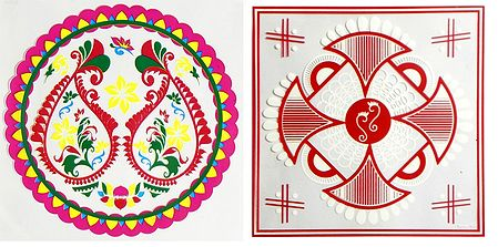 Set of 2 Colorful Ritual Print on Transparent Sheet Sticker