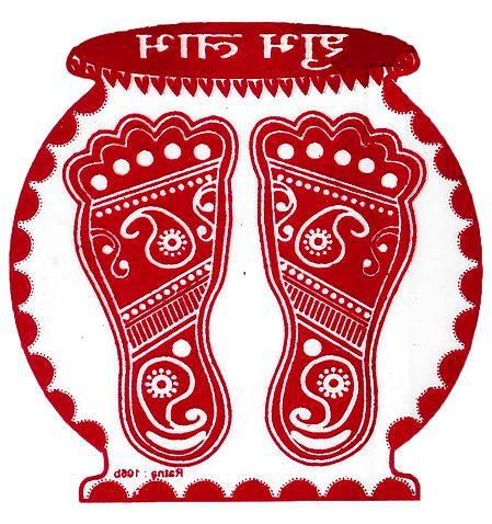 Kalash with Charan on Tranparent Sheet Sticker
